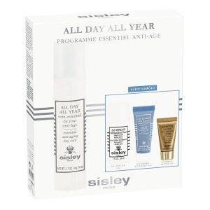 Estuche Sisley All Day All Year Cream + Eau Efficace Eau Micellar + Express Flower Gel Limpiador Facial + Supremÿa at Night Mascarilla